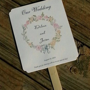 Beautiful Floral Wreath Paddle Programs Fans - Personalized Wedding / Party