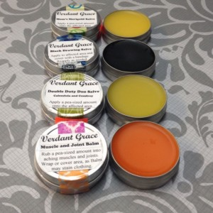 Small Salve Sample Pack 4- 1/2 oz Tins: Black Drawing Salve, Muscle and Joint Balm, Mom's Marigold Salve and Double Duty Duo Salve