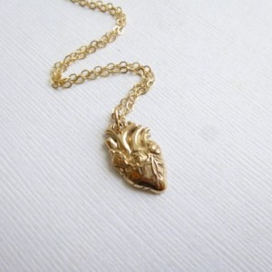 Gold Anatomical Heart Necklace --  Bronze and 14k Gold filled