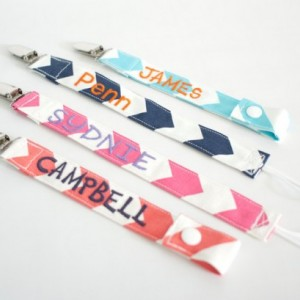 Personalized Looped Cord or Snap Fabric Pacifier Clips
