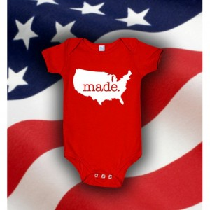American 'Made.' Cotton One Piece Bodysuit - United States Infant Girl and Boy