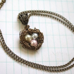 Wire Wrapped Nest Pendant Necklace with Pink, Cream and Gray Pearls, Mother, New Mom, Nature Inspired Wedding, Bridesmaid Jewelry