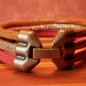 Womens Ruby Red Mango and Cognac Soft Leather Bracelet with lizard and reptile print, Triple Wrapped with an antique copper colored clasp