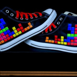 Custom Converse, Tetris, handpainted, sealed, your choice of colors, sizes and styles