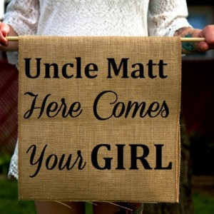Customizable Burlap Here Comes Your Girl Ring Bearer Sign - Uncle Rustic Ceremony Banner