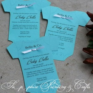 Beautiful Tiffany Style Baby Onsie Personalized Shower Invitations /Announcement
