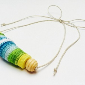 Paper necklace, Paper beads, adjustable necklace, summer necklace, white, blue, green, yellow, hypoallergenic, metal free jewelry