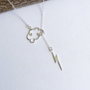 Sterling Silver Lightning Cloud Lariat Necklace... Entirely Sterling Silver