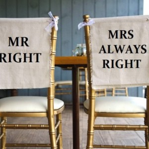 Rustic Linen & Lace Mrs Always Right Wedding Chair Cover Signs - PICK YOUR COLOR