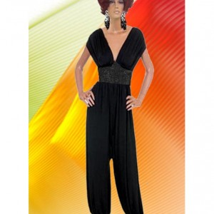 Harem Pant Black Jumpsuit  Jeweled Center  Made To Measurement