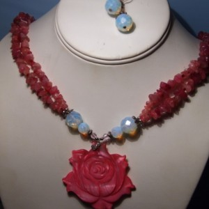 Hand Carved Mother Of Pearl Rose Pendant, Agate Necklace Earrings Set
