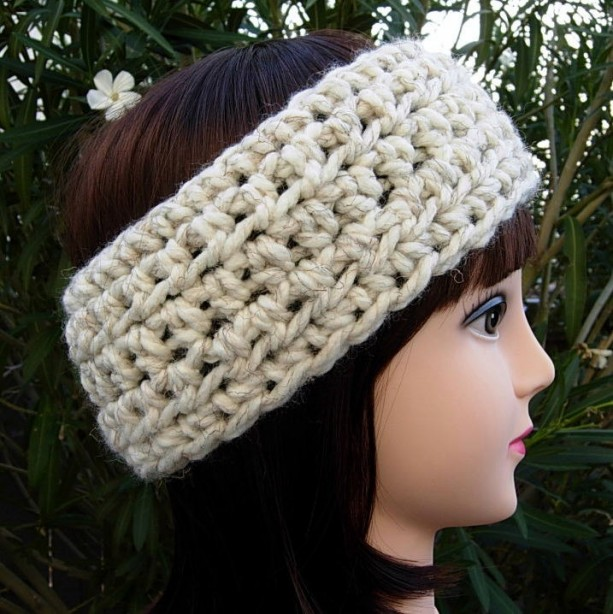 CROCHET HEADBAND Ear Warmer, Off White Wheat with Black, More Color Options, Thick Bulky Chunky Wide Warm Winter Wool Womens Simple Basic Head Band..Ready to Ship in 3 Days