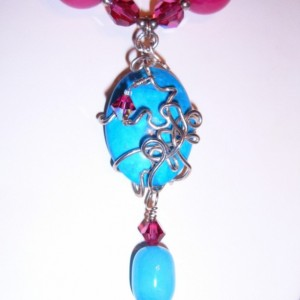 Summer's Kiss  Sterling Wrapped Turquoise Hot Pink and Blue Jade Necklace