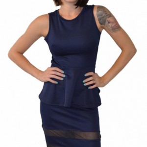 Ponte knit fitted pencil skirt with mesh panels