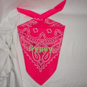 GLOW in the DARK Hot Pink Dog Bandana with Electric Green, Black or Grape Juice Lettering