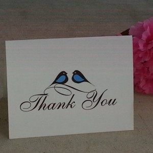 Pretty Little Love Birds Personalized Thank you Cards / Note Cards - Set of 25
