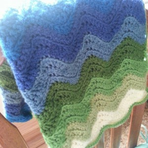Ripple Baby Blanket - Blue, Green, and White