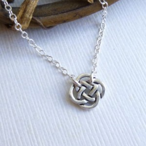 Tiny Celtic Knot Necklace... Sterling Silver Chain... Minimalist Everyday