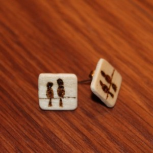 """Wood Love Birds stud earrings with wood burned """"love birds"""" on a wire. Natural Handmade Jewelry."""