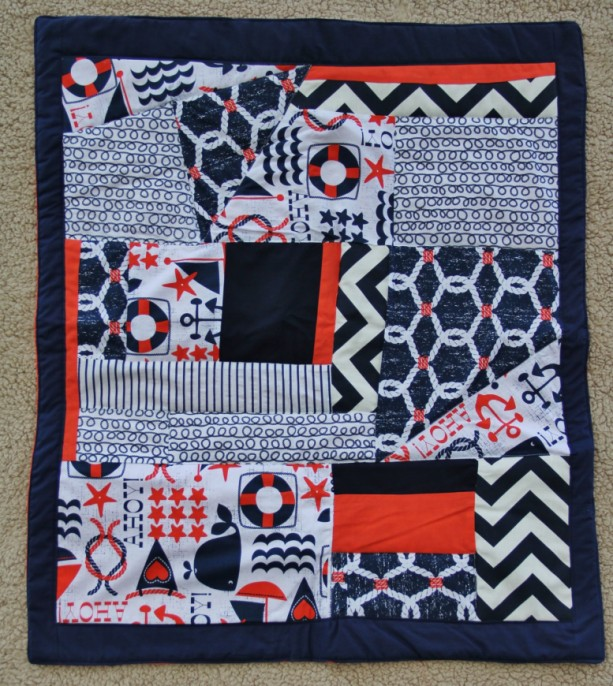 Sale***Ready to ship**** Nautical/Chevron Theme Quilt*** One of a kind patchwork ****