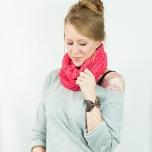 Coral Pink Ruched Cowl Infinity Scarf