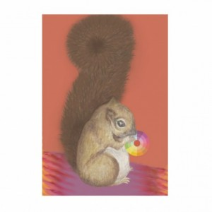 Squirrel Nibbles the Color Wheel- Internalizing Aqua Marine 5X7 Art Print