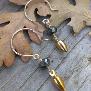 As Seen on Law & Order: SVU - Mixed Metal Earrings - Hematite Rondelle on 14k Gold Filled Earwires with 18k Plated Brass Plumb Bob