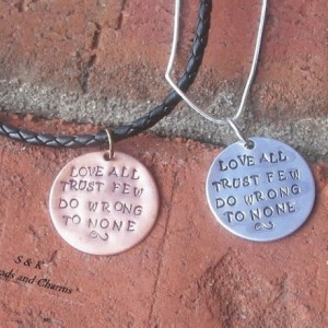Love all trust few hand personalized charm