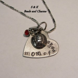 Mom  of a  hero charm custom hand stamped  fireman necklace,