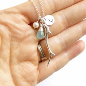 Sterling Silver Sea Treasures Birthstone Necklace -- Coral Branch -- Initial -- Choose Your Stone