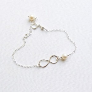 Infinite Love Bracelet -- 925 Sterling Silver with Freshwater Pearl