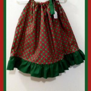 Christmas Pillowcase dress - free scrunchie - girls child toddler infant - size 12- 24 month - ready to ship