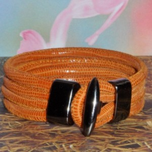 Lizard Printed Cognac Leather Bracelet, Quad Wrapped Bracelet in the color of Cognac with a Distressed  Black T bar Clasp