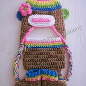 crochet rainbow sock monkey set , handmade , crocheted , rainbow , photo prop , hat, earflap , diaper cover , booties , slippers , shoes