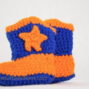 Blue and Orange Newborn 0-3 month Cowboy Baby Booties with Stars Ready to Ship, Western Baby Booties, Star Baby Booties
