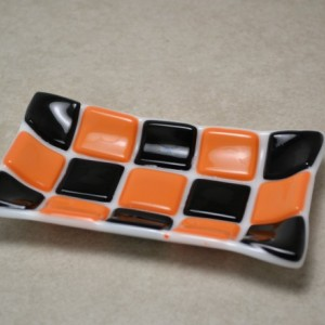 Orange and Black Halloween Mosaic fused glass soap dish.