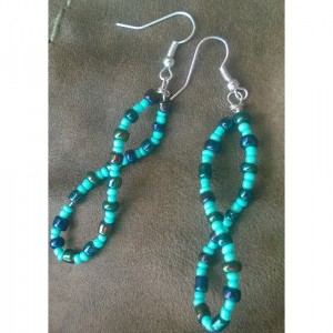 Turquiose and oil blue twisted glass bead earrings