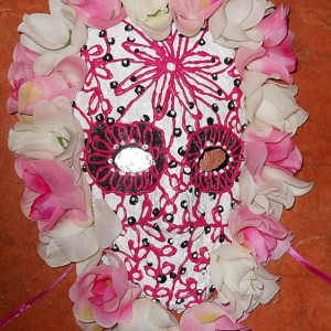 Day of the Dead/Dia de los Muertos White and Pink Mask with flowers by Anthony Saldivar - One of a kind