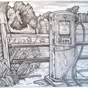 Vintage Esso gas pump drawing