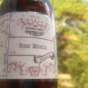 Sore Muscle Massage Oil 4 oz Amber Glass Bottle of Sore Muscle Rub Arnica Massage Oil Aromatherapy Handmade by The Natural Choice Apothecary