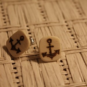 Anchor Earrings. Wood studs with wood burned anchor design.