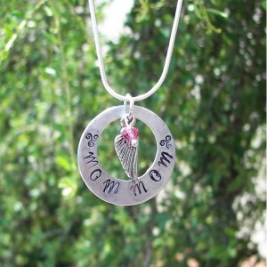 Personalied, Handstamped custom  off set washer  mommy charm
