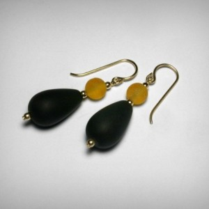 Sea Glass Earrings, Black and Gold Earrings, Team Colors, 14K Yellow Gold Filled, Team Color Jewelry, School Color Jewelry, SeaGlass Earring