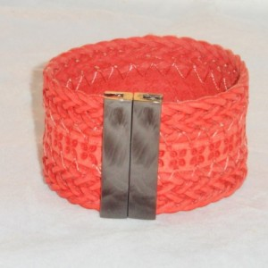 Red Embossed Braided Cuff Bracelet with Rectangular Super Strong Black Magnetic Clasp