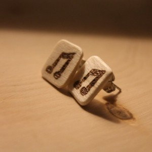 Wood Earrings. Musical Studs with wood burned Two Eighth Notes design.