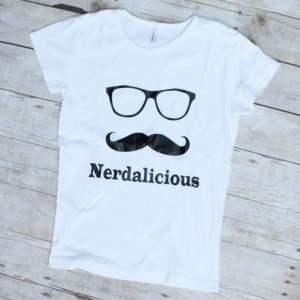Hipster Nerdalicious Mustache and Glasses Nerdy Womens TShirt S-XL