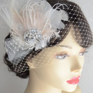READY TO SHIP, Champagne Feather Fascinator, mini champagne veil, birdcage veil, Peacock feather, Bridal headpiece,Bridal hair clip and veil