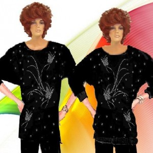 Dolmen Sleeve Rhinestone Butterflies Matte Jersey Choose Your Fabric Fabric Made To Measurement