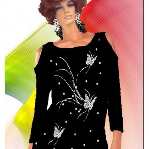 Bare Shoulder Rhinestone Butterflies Matte Jersey Choose Your Fabric  Made To Measurement