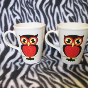 Set of 2 18 ounce coffee cups tattoo Red and Black Owls OHIO USA hand made